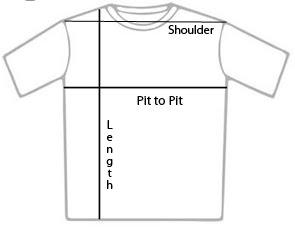 3 way t-shirt measurement specifications